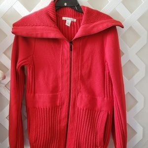 Ladies Red Sweater Jacket  Kennth Cole Size Large